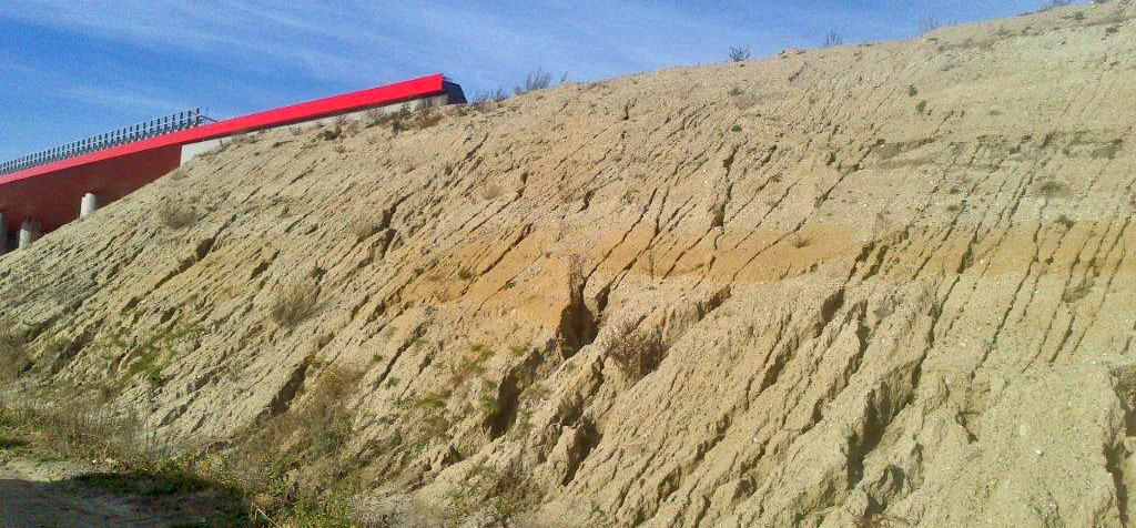 Przykład przyspieszonej erozji - erozja antropogeniczna na skarpach drogowych.